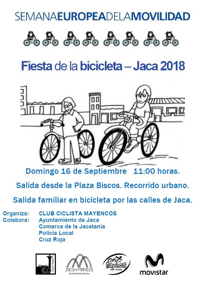 Domingo día 16 desde el CLUB CICLISTA MAYENCOS celebraremos la FIESTA DE LA BICICLETA 2018 en Jaca, dentro de la SEMANA EUROPEA DE LA MOVILIDAD.