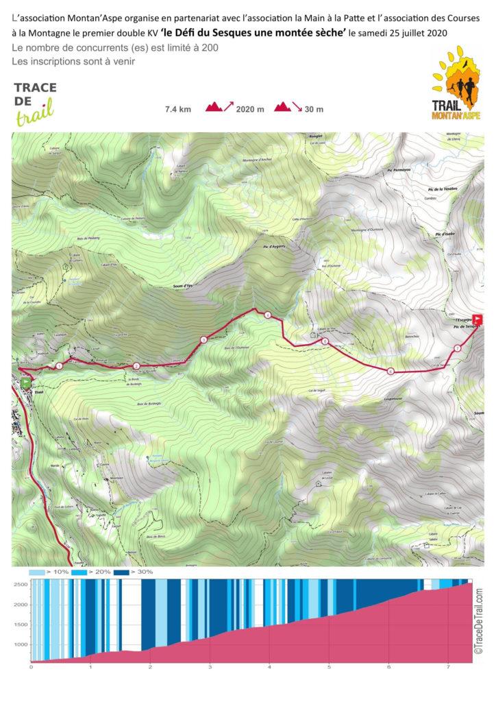 """Primera edición del doble kilómetro vertical """"Le Défi du Sesques"""", con salida de Etsaut (a 600 m de la cabaña de Yèse, km5). Llegada en el Pic de Sesques de 2600 m ; 7.4 km de recorrido 2020 m D +. Limitada a 200 participantes con una tasa de inscripción de 20€.  Solo subida, la bajada se realizará a pie por el mismo camino."""