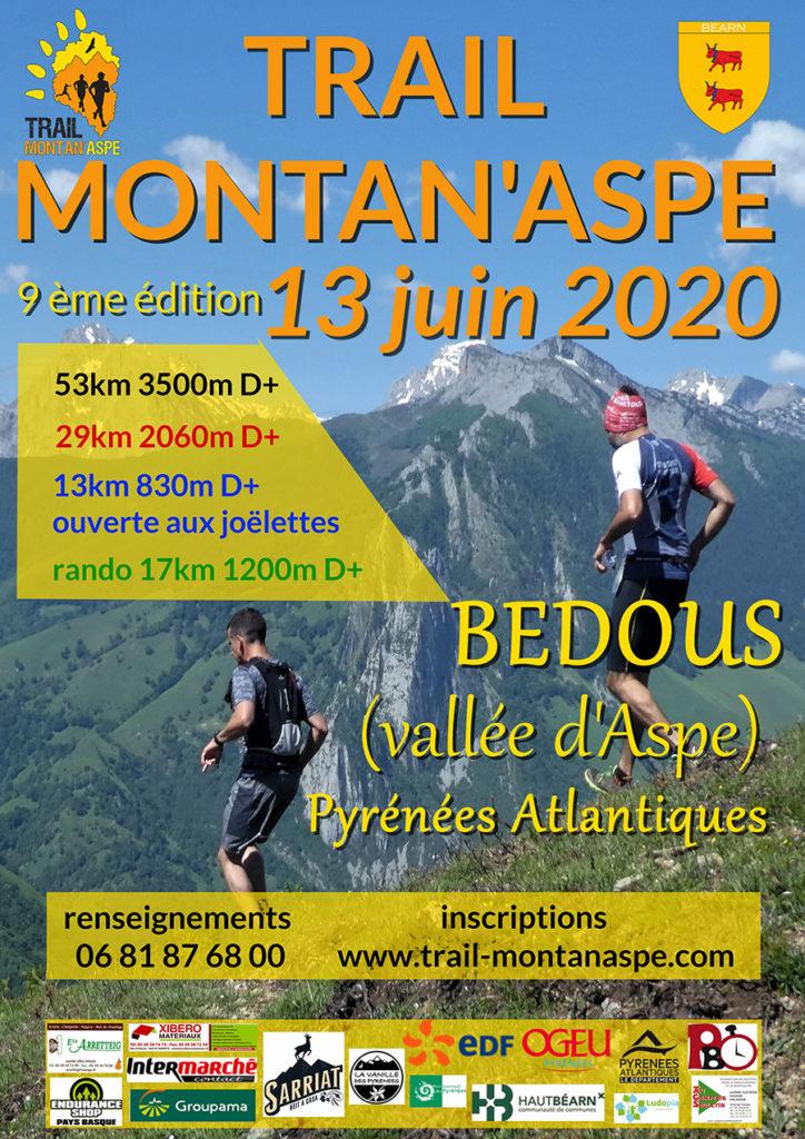 La edición 2020 del Trail MONTAN'ASPE tendrá lugar el 13 de junio en Bedous con cuatro recorridos: